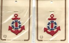 """Lot of 2 Nautical Anchor Appliques Patches 2 3/4"""" x 2"""" Sew On NIP 2061 USA"""