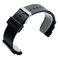 18mm 20mm 22mm Silicone Rubber Men Black Wrist Watch Strap Pin Buckle Band Sport