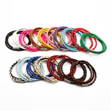 Bracelet Handmade Unisex Women Men Braided Leather Steel Magnetic Clasp