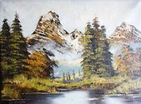 De Bruin signiert  - Alpen - Gemälde: BERGMASSIV MIT ZWEI GIPFELN, DAVOR EIN SEE