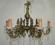 LAMPADARIO 6 LUCI IN OTTONE CERAMICA CAPODIMONTE - ANGIOLETTI - STRASS - OTTIMO