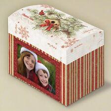 Christmas Card Keepsake Box with Photo Frame Front & Flip Top Lid, Trinket Box