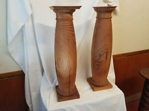 "reclaimed19th century antique heart pine pedestal/plant stand set 26''ht x  7"" D"