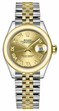 New Rolex Lady-Datejust 28 279163 Yellow Rolesor Champagne Dial Womens Watch