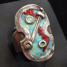 Vintage Modernist Artist Enamel Unique Weird Sterling Silver 925 Ring 8g Sz.6.5