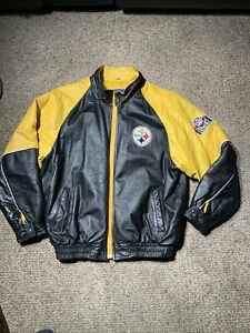 Pittsburgh Steelers Pro Player Men's Leather Coat Full Zip Quilted Big Logo XL