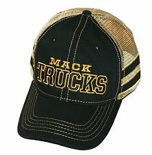 Mack Trucks Black & Gold Stripe Mesh Snapback Cap/Hat