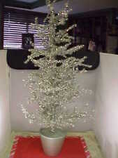 "Silver Tinsel Christmas Tree Potted 36"" tall No Lights Wire Branches Good Cond"