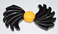 Vtg Bakelit 00004000 e Tested Art Deco Carved Large Black Yellow Geometric Belt Buckle