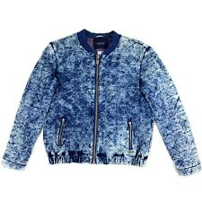 Maison Scotch Tie Dye Embroidered Blue Jacket Size Petite Full Zip Distressed