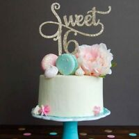 Glitter Gold Sweet 16th Cake Topper Happy Birthday Party Decoration Celebrate