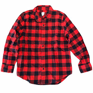 NWT GAP Kids Boys Flannel Button-Up Top LARGE Red Checks Long Sleeves #496268