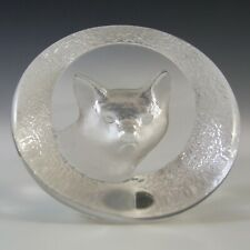 SIGNED Mats Jonasson Swedish Glass Fox Paperweight