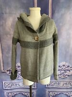 Prana Soft Sherpa Hooded Crop Jacket SMALL Single Wooden Button Casual Yoga Gray