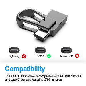 64GB USB 3.0 Dual OTG Flash Drive Waterproof Memory Stick Type-C Thumb Pen Drive