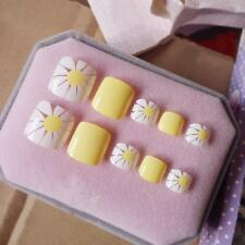 False Press On Nails For Toes Pedicure Accessories 24 Pieces Flower Pattern Tool