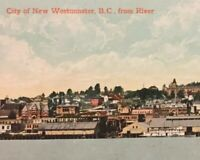 Postcard New Westminster B.C. From River, Hand Tinted Vintage B02