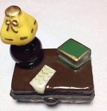 Tiny Limoges STYLE hinged box study/graduation theme; add gift card or check