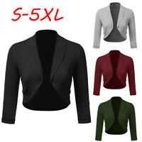 Women 3/4 Sleeve Solid Bolero Shrug Open Front Cropped Mini Office Work Cardigan