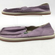 Sanuk Womens Donna Hemp Loafer Flat Shoes Purple Moc Toe Slip Ons 9