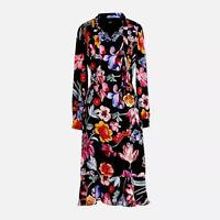 New J Crew Womens Size 10 Tie-Neck Midi Dress Midnight Dutch Floral Ruffle Hem