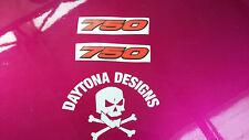 750 GSXR VFR DAYGLOW RED & BLACK CUSTOM SEAT UNIT FAIRING DECALS STICKERS