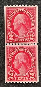 US Stamps, Scott #606 2c pair 1923 Washington 2019 PF Cert - GC XF 90 M/NH