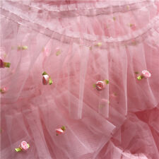 """2 yard Pink Tulle 3D Rose Lace Trim Ruffled Wedding Fabric Baby Dress 3.54"""" wide"""