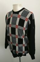 Mens Vintage Lyle and Scott Black Check Wool Golf Jumper - Size Medium