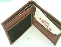 Levi's Mens Genuine Leather Slim Bifold Wallet Brown RFID NWT Ships Free