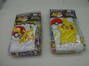 Pokemon Boy's Boxer Briefs 5-Pair Underwear 100% Combed Cotton Size 4, 6, 8 New