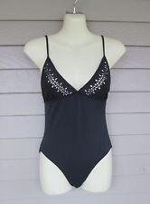 J. Crew Womans Cute Black Cut Out Design One-Piece Maillot Swimsuit 6 - USA made