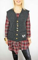 HAMMERSCHMID Button Front Boiled Wool Blend Vest Waistcoat w/ Embroidered Cows