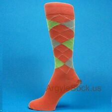 Men's Groomsmen Wedding Coral/ Apple Green/Light Gray  Argyle Dress Socks -MA045
