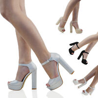 Womens Ankle Strap Sky High Heel Platform Sandals Ladies Peep Toe Party Shoes