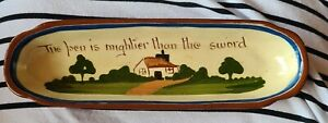 Vintage Watcombe Motto Ware rare pen dish 'The pen is mightier than the sword'