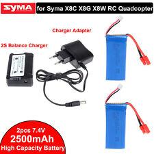 2pcs 7.4V 2500mAh 25C Lipo Battery+2S Balance Charger for Syma X8W X8C X8G Q6