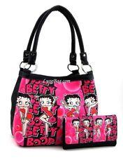 Betty Boop Medium Handbag and Wallet Set, Pink Bubbles