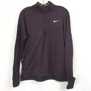 Nike Womens Medium Therma Sphere Running Top 1/2 Zip Purple DriFit Pullover LS