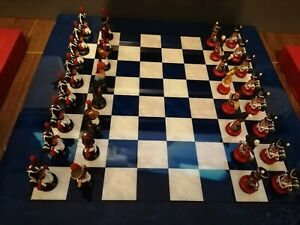 CHAS C STADDEN VERY RARE STUDIO PAINTED WATERLOO CHESS BUSTS SET FIGURINES