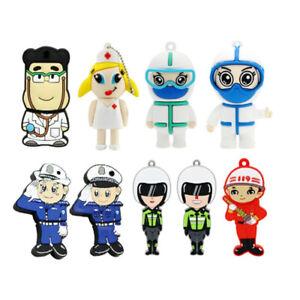 Mini Doctor Nurse USB 2.0 Flash Pen Drive Cartoon Police Fireman Memory Stick