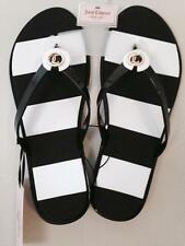 NWT JUICY COUTURE Black Striped Jelly Thong Flip Flops Sandals Women's Small 5 6