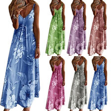 Womens Summer Floral Long Dress Ladies Boho Beach Holiday Maxi Dress Size S-5XL