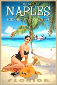 Naples Florida Royal Treatment Travel Poster Meghan Beach Pin Up Art Print 353