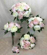 Cream/Light Pink Peony Artificial Silk Flowers Wedding Bouquet Set cintahomedeco