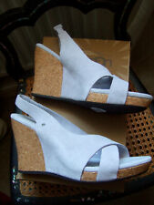 UGG 'HAZEL' GREY SUEDE HIGH CORK WEDGE SANDALS HEELS SLING BACKS UK 5 EU 38