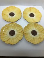 "OCI Omnibus Fitz and Floyd Poppy Sunflower 8"" Dessert Sandwich Plates Set of 4"