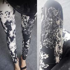 Black & White pictóricos Flores Suaves Leggings - 8 - 12 Reino Unido, Blanco, Naturaleza Floral