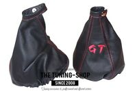 """For Alfa Romeo GT 2003-2010 Gear & Handbrake Gaiter Leather """"GT"""" Red Embroidery"""
