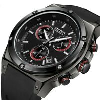 Black Sports Chronograph Watch Men Quartz Wrist Watches Luminous Silicone Band